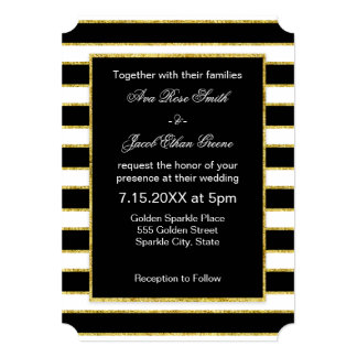 Elegant and Modern Black, White, Faux Gold Stripes Card