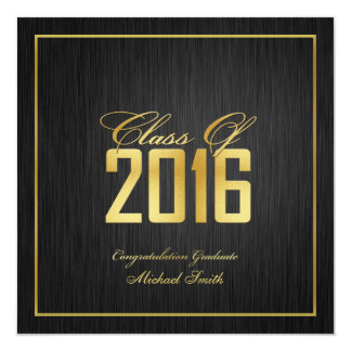 Elegant and Modern Gold Class of 2016 Graduation Card