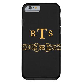 Elegant and Ornate Initials Belt - Black Gold 8 Tough iPhone 6 Case