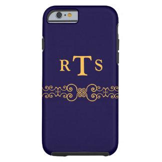 Elegant and Ornate Initials Belt - Blue Gold 8 Tough iPhone 6 Case