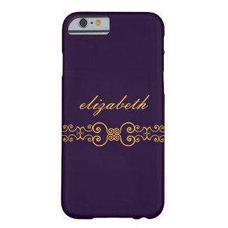Elegant and Ornate Monogram Belt - Purple Gold 8 Barely There iPhone 6 Case