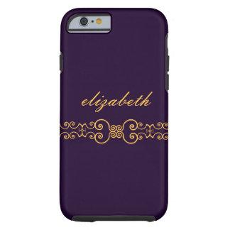 Elegant and Ornate Monogram Belt - Purple Gold 8 Tough iPhone 6 Case