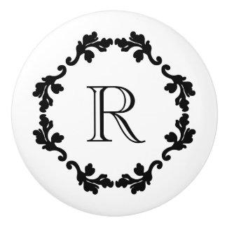 Elegant and simple black and white monogram ceramic knob