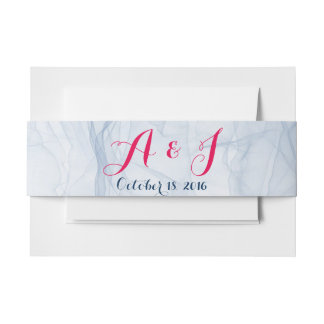 Elegant and stylish pink and blue belly bands invitation belly band