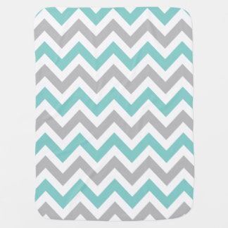 Elegant and Trendy Teal Blue and Gray Chevron Swaddle Blankets