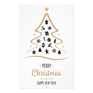 Elegant and Unique Christmas Tree Simple Stationery