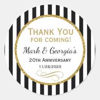 Elegant Anniversary Black Gold Thank You Favor Tag Round Sticker