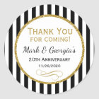 Elegant Anniversary Black Gold Thank You Favour Classic Round Sticker