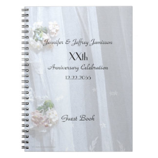 Elegant Anniversary Party Guest Book, Vintage Lace Spiral Note Book