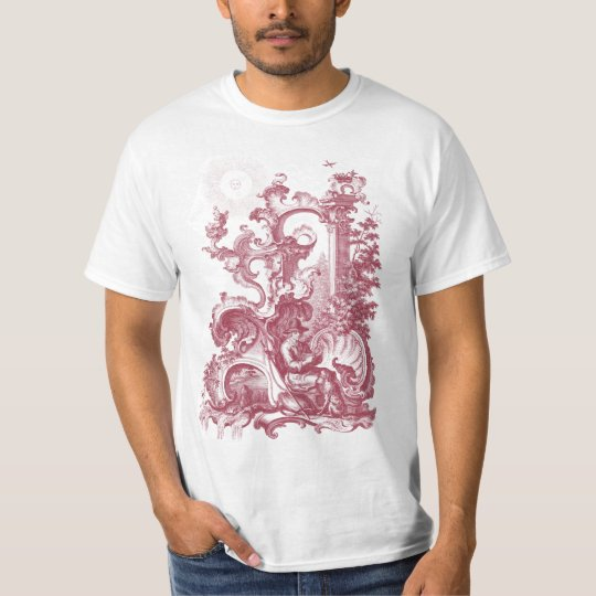 Elegant Antique Engraving Red Toile Man and Dog T-Shirt