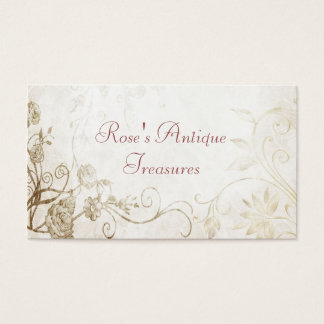 Elegant Antique Gold Flower Shop Business Card