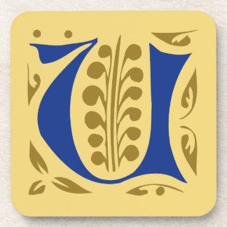 Elegant antique medieval letter U Drink Coasters