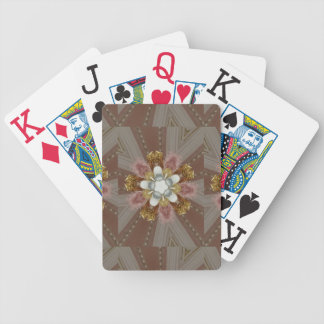 Elegant Antique Pink Silver Gray Gold White Flower Bicycle Playing Cards