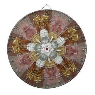 Elegant Antique Pink Silver Gray Gold White Flower Dartboard