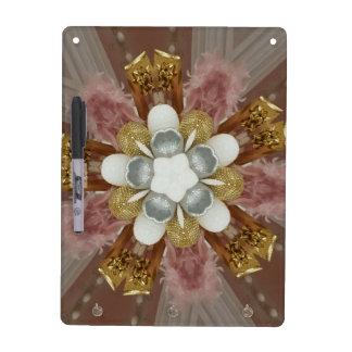 Elegant Antique Pink Silver Gray Gold White Flower Dry Erase Board