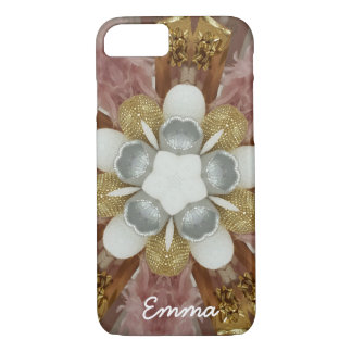 Elegant Antique Pink Silver Gray Gold White Flower iPhone 8/7 Case