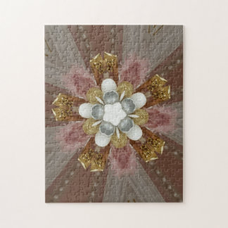 Elegant Antique Pink Silver Gray Gold White Flower Jigsaw Puzzle