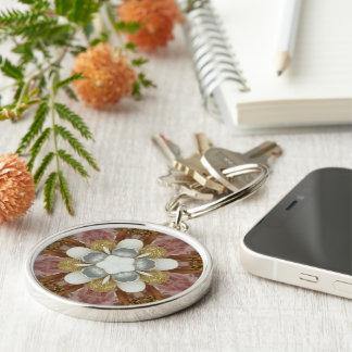 Elegant Antique Pink Silver Gray Gold White Flower Keychain