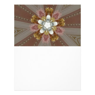 Elegant Antique Pink Silver Gray Gold White Flower Letterhead