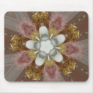 Elegant Antique Pink Silver Gray Gold White Flower Mouse Pad