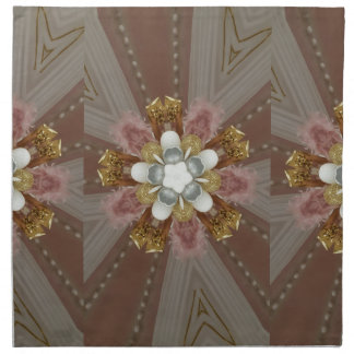 Elegant Antique Pink Silver Gray Gold White Flower Napkin