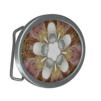 Elegant Antique Pink Silver Gray Gold White Flower Oval Belt Buckle