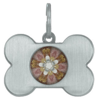 Elegant Antique Pink Silver Gray Gold White Flower Pet ID Tag