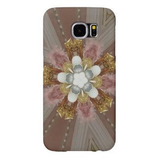 Elegant Antique Pink Silver Gray Gold White Flower Samsung Galaxy S6 Cases