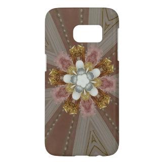 Elegant Antique Pink Silver Gray Gold White Flower Samsung Galaxy S7 Case