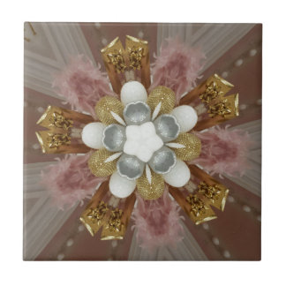 Elegant Antique Pink Silver Gray Gold White Flower Tile