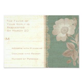 Elegant Antique Rose Vintage Verdigris Patina RSVP Card