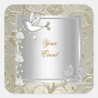 Elegant Any Event Gold Silver White Dove Damask Square Sticker