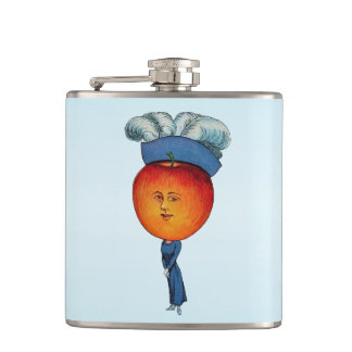 Elegant Apple Head Lady Feather Hat Hip Flask
