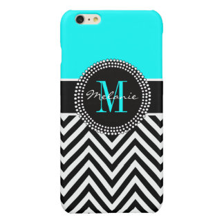 Elegant Aqua and Black Chevron Monogrammed