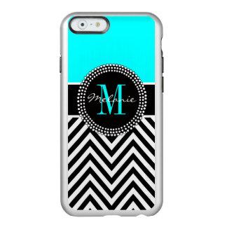 Elegant Aqua and Black Chevron Monogrammed Incipio Feather® Shine iPhone 6 Case
