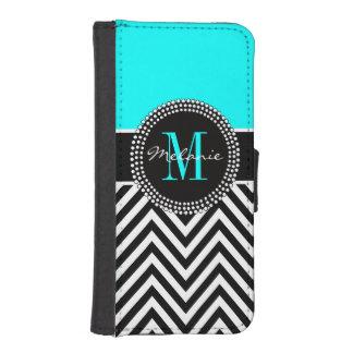 Elegant Aqua and Black Chevron Monogrammed iPhone SE/5/5s Wallet Case