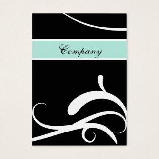 elegant aqua black and white swirlsbusiness cards
