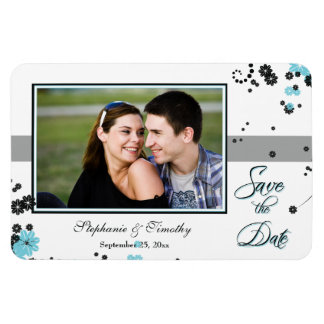 Elegant aqua + black flowers save the date photo rectangular photo magnet