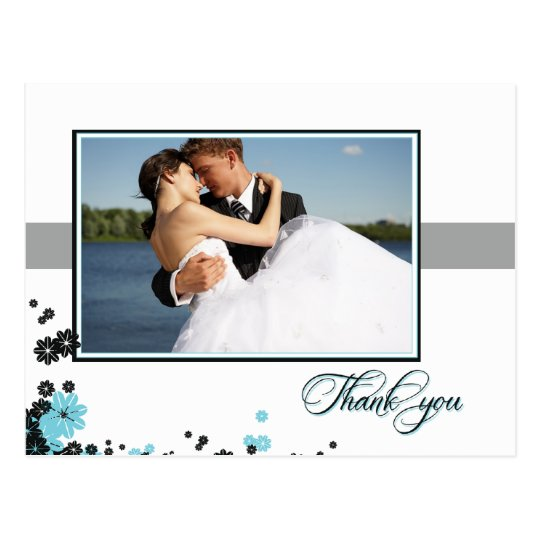Elegant aqua + black flowers wedding thank you postcard