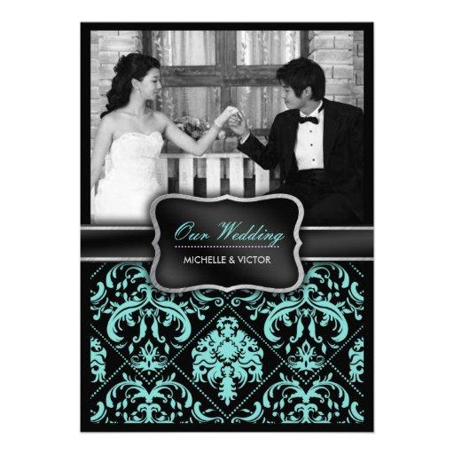 Elegant Aqua Blue and Black Damask Wedding Photo Personalized Invites