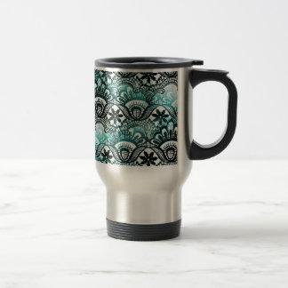 Elegant Aqua Blue Black Faded Distressed Damask La Travel Mug