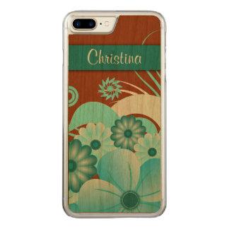 Elegant Aqua Blue Floral Hibiscus Carved Wooden Carved iPhone 8 Plus/7 Plus Case