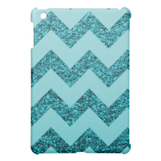 Elegant Aqua Blue Glitter Chevron iPad Mini Case