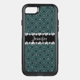 Elegant Aqua Glitter Girly  Personalized OtterBox Commuter iPhone 8/7 Case