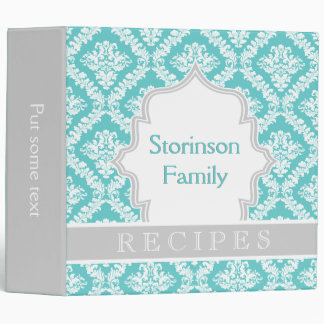 Elegant aqua, grey damask recipe vinyl binder