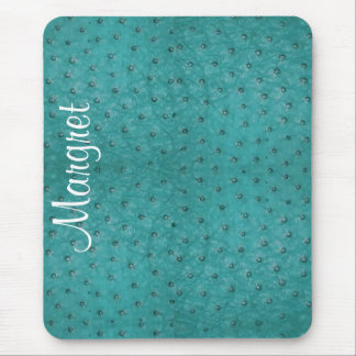 Elegant Aqua Ostrich Leather Look Mouse Pad