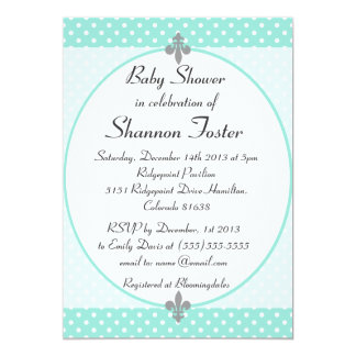 Elegant Aqua Polka Dots Baby Shower Invitation