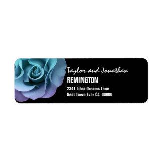 Elegant Aqua Purple Wedding Rose Modern Script V11 Return Address Label