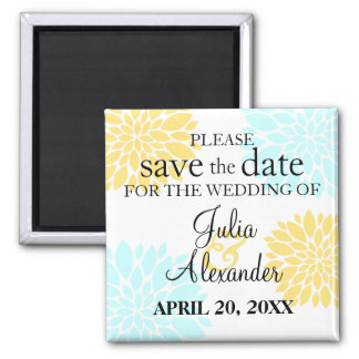 Elegant Aqua Yellow Floral Burst Save The Date Square Magnet