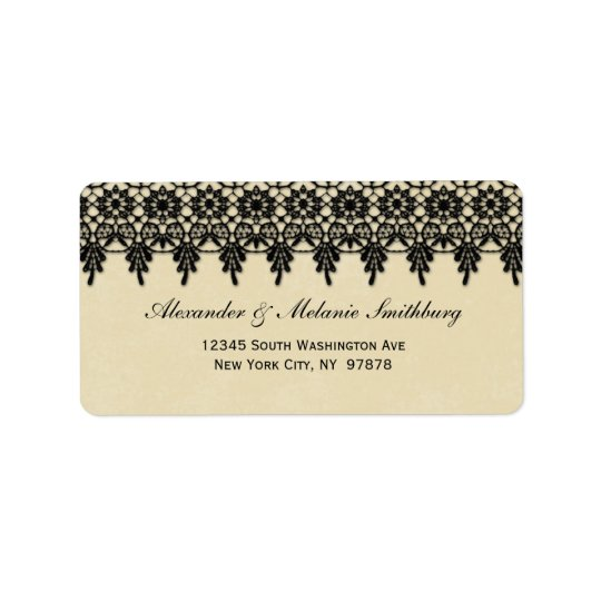 Elegant arabesque black lace address label